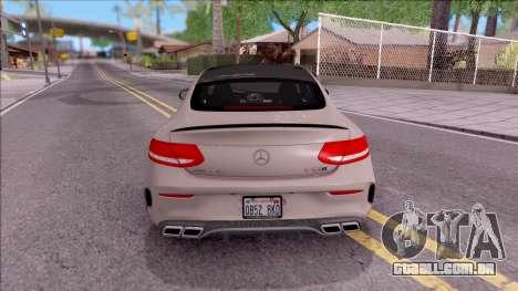 Mercedes-Benz C63S AMG Coupe 2016 para GTA San Andreas traseira esquerda vista