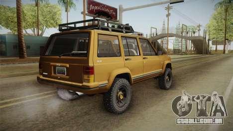 Jeep Cherokee 1984 para GTA San Andreas esquerda vista