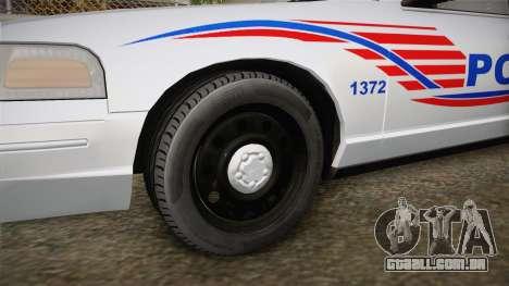 Ford Crown Victoria Police v1 para GTA San Andreas vista traseira