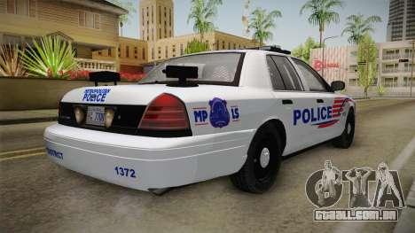 Ford Crown Victoria Police v1 para GTA San Andreas esquerda vista