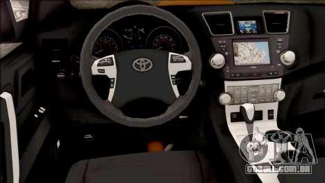Toyota Hilux 2017 para GTA San Andreas vista interior