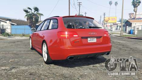 GTA 5 Audi RS6 Avant (C6) [replace] traseira vista lateral esquerda