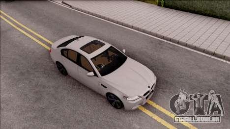 BMW M5 F10 Stock v2 para GTA San Andreas vista direita