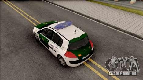 Renault Megane Guardia Civil Spanish para GTA San Andreas vista traseira