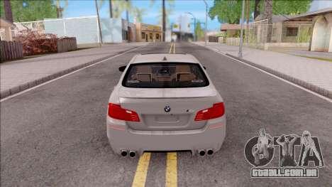 BMW M5 F10 Stock v2 para GTA San Andreas traseira esquerda vista