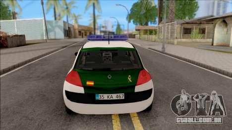 Renault Megane Guardia Civil Spanish para GTA San Andreas traseira esquerda vista