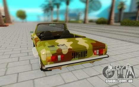 ZAZ 968M para GTA San Andreas vista traseira