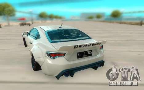 Toyota GT86 RB Ft Rotiform Permaisuri para GTA San Andreas vista traseira