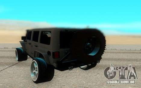 Jeep Rubicon 2012 V3 para GTA San Andreas vista direita