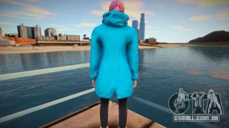 Garota em capa turquesa de GTA Online para GTA San Andreas